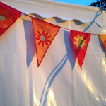 Mandala Festival Bunting – red/gold/yellow -bunting hire